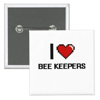 Amo a encargados de la abeja pin cuadrada 5 cm