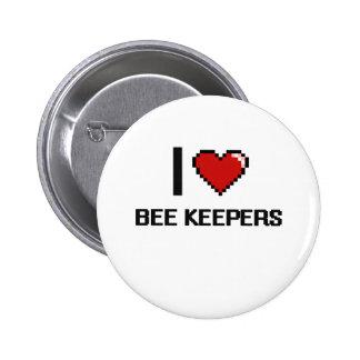 Amo a encargados de la abeja pin redondo 5 cm