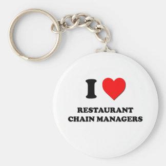 Amo a encargados de la cadena de restaurantes llavero personalizado