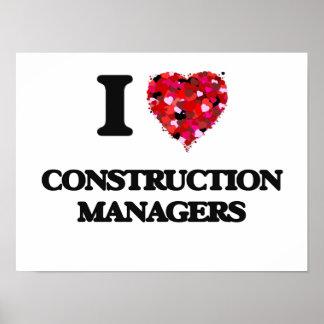 Amo a encargados de la construcción póster