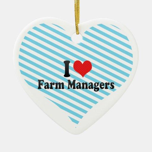 Amo a encargados de la granja adorno de navidad