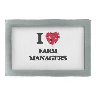 Amo a encargados de la granja hebillas de cinturón rectangulares
