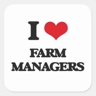 Amo a encargados de la granja pegatinas cuadradas personalizadas