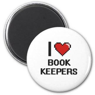 Amo a encargados de libro imán redondo 5 cm
