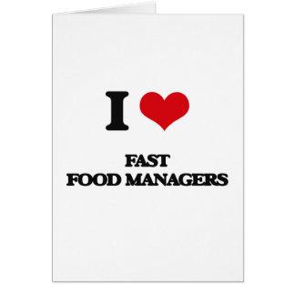Amo a encargados de los alimentos de preparación tarjetas