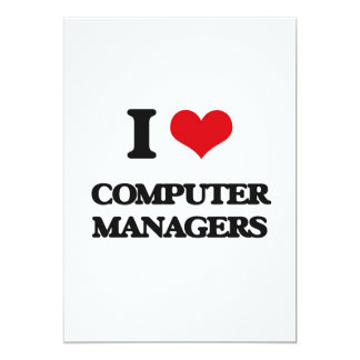 "Amo a encargados de ordenador invitación 5"" x 7"""