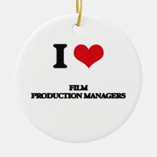 Amo a encargados de producción de la película ornamento de navidad