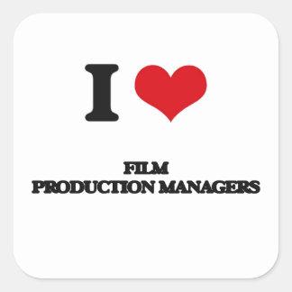 Amo a encargados de producción de la película calcomanías cuadradass