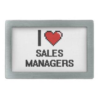 Amo a encargados de ventas hebilla de cinturón rectangular