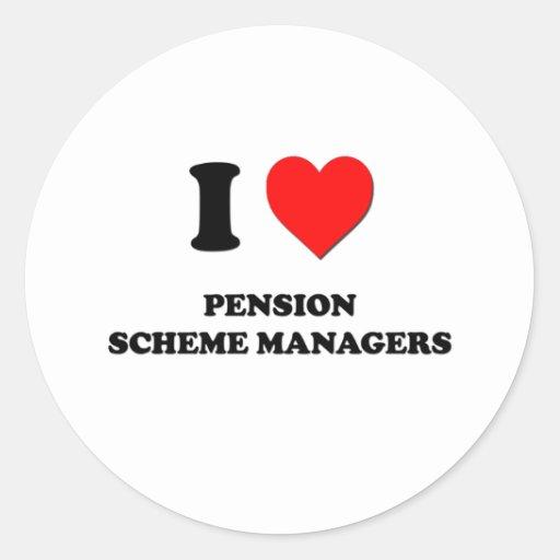 Amo a encargados del plan de pensiones pegatina redonda