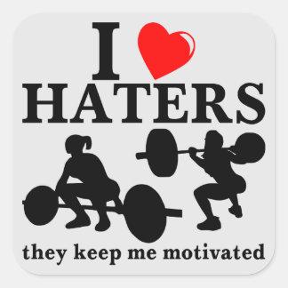 Amo a enemigos que me guardan motivaron (la pegatina cuadrada