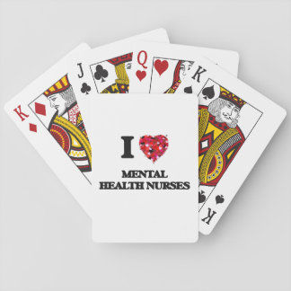 Amo a enfermeras de salud mental baraja de póquer
