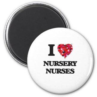 Amo a enfermeras del cuarto de niños imán redondo 5 cm