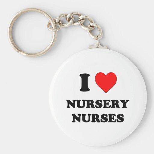 Amo a enfermeras del cuarto de niños llavero