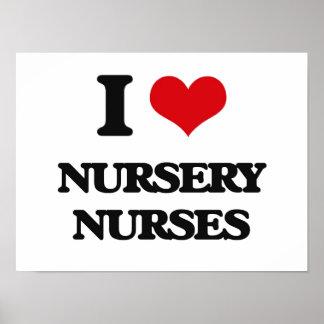 Amo a enfermeras del cuarto de niños posters