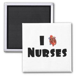 Amo a enfermeras imán cuadrado