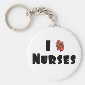 Amo a enfermeras llaveros personalizados