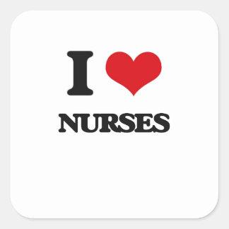 Amo a enfermeras pegatina cuadrada