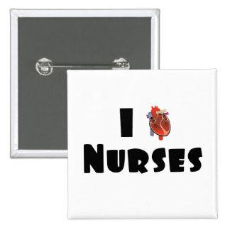 Amo a enfermeras pin cuadrado