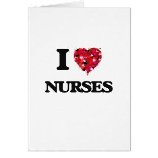 Amo a enfermeras tarjeta de felicitación