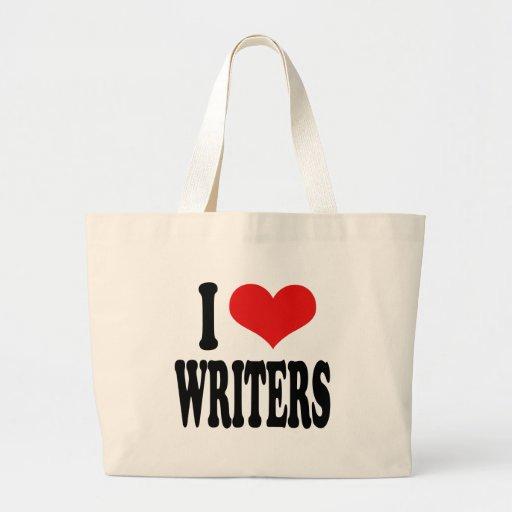 Amo a escritores bolsa de tela grande