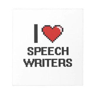 Amo a escritores de discurso blocs de notas
