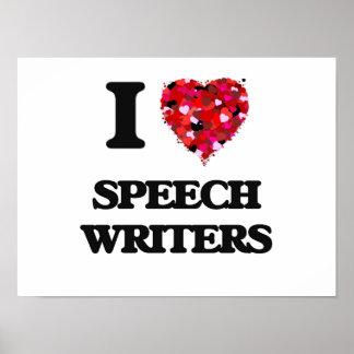 Amo a escritores de discurso póster