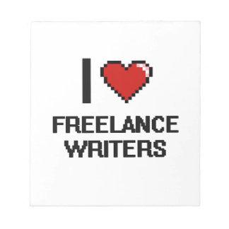 Amo a escritores frees lances bloc de papel