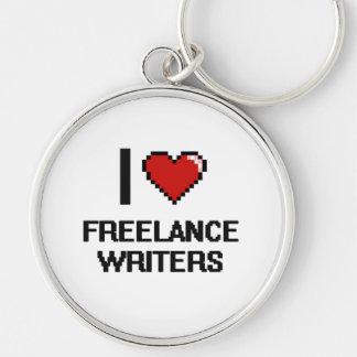 Amo a escritores frees lances llavero redondo plateado