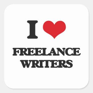 Amo a escritores frees lances pegatina cuadrada