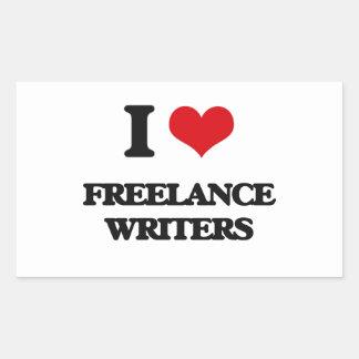 Amo a escritores frees lances pegatina rectangular