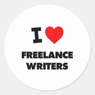 Amo a escritores frees lances pegatina redonda