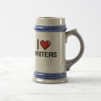 Amo a escritores jarra de cerveza
