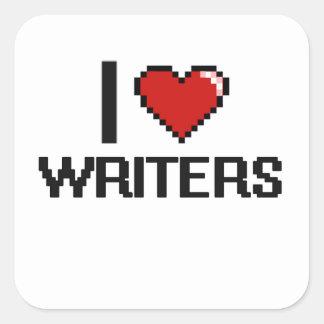 Amo a escritores pegatina cuadrada