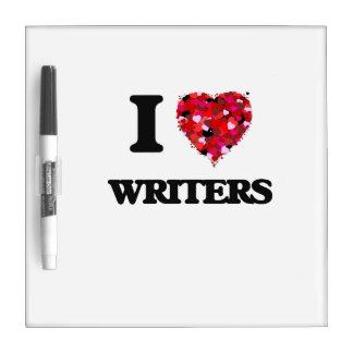 Amo a escritores pizarra blanca