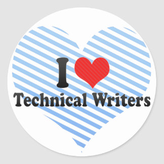 Amo a escritores técnicos pegatina redonda