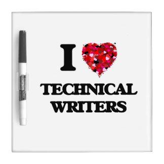 Amo a escritores técnicos tablero blanco