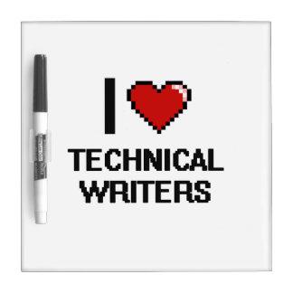Amo a escritores técnicos tableros blancos