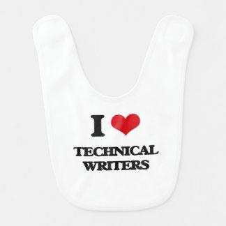 Amo a escritores técnicos baberos de bebé