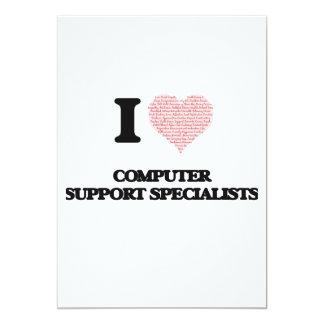 """Amo a especialistas del soporte informático (el invitación 5"""" x 7"""""""