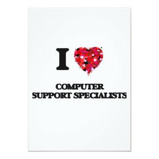 """Amo a especialistas del soporte informático invitación 5"""" x 7"""""""