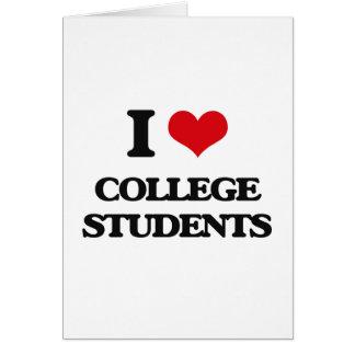 Amo a estudiantes universitarios tarjeta de felicitación