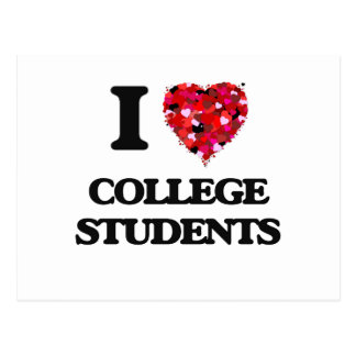 Amo a estudiantes universitarios tarjeta postal