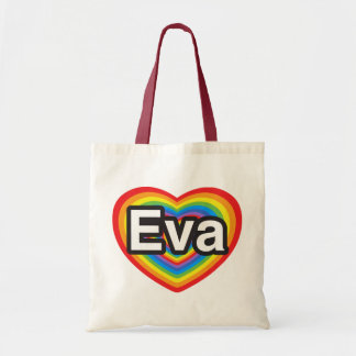 Amo a Eva. Te amo Eva. Corazón Bolsa De Mano