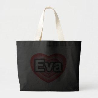Amo a Eva. Te amo Eva. Corazón Bolsa Lienzo