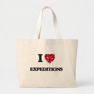 Amo a expediciones bolsa tela grande