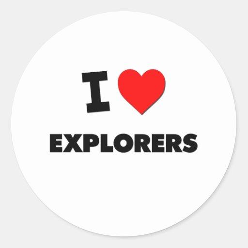Amo a exploradores etiqueta redonda