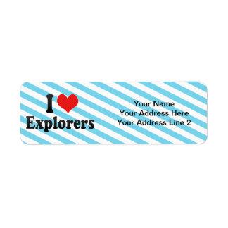 Amo a exploradores etiquetas de remite