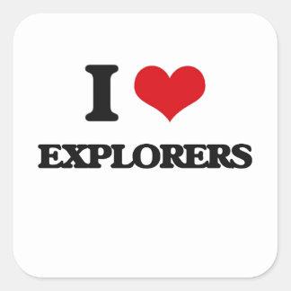 Amo a exploradores calcomanías cuadradas