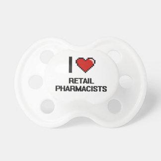 Amo a farmacéuticos al por menor chupete de bebé